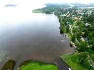 Niitto 19.8.2017 kirkonkylän rannasta – ennen, ilmakuvat Hämeen Vesiniitto Oy